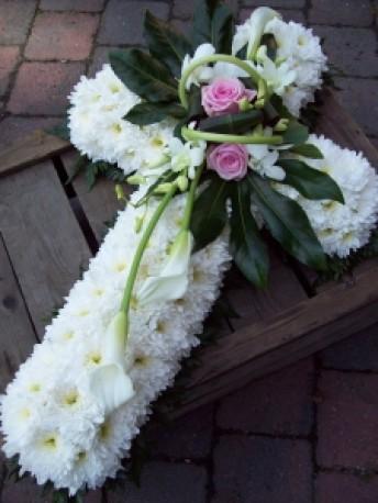 White based floral foam cross